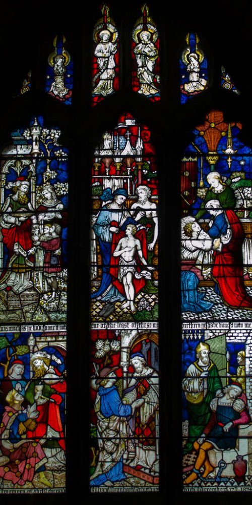 Acts of Mercy window. Probably by Clayton & Bell, circa 1874. Six of the seven acts are shown. In memory of William Arbuthnot.