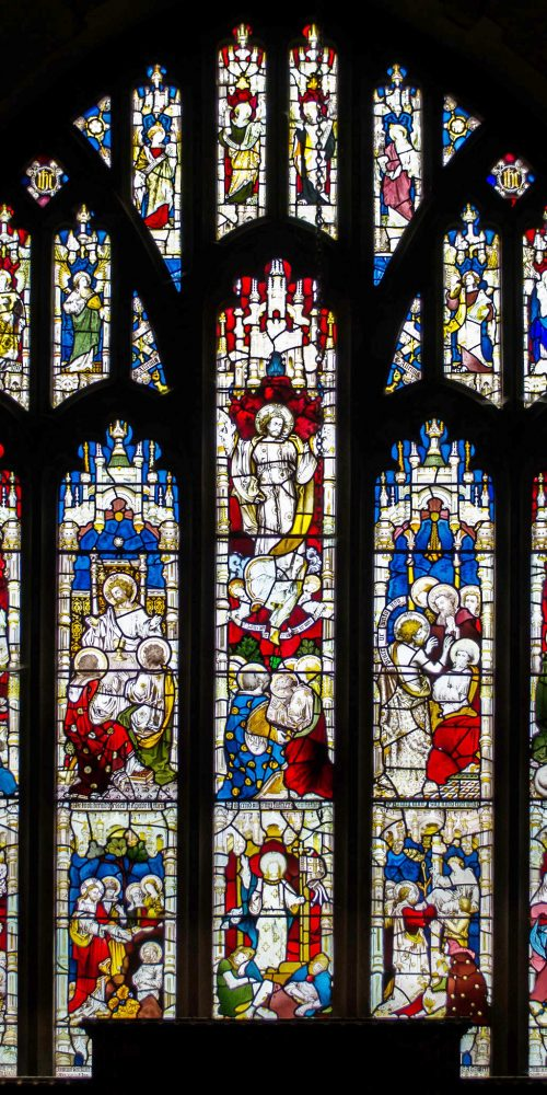 East window, Depicting: Noli me Tangere, The Last Supper, Crucifixion, Healing, Charge to Peter, Agony in the Garden, Raising of Lazarus, The Resurrection, The Raising of Widow's son and Suffer the little children. Probably by Clayton & Bell.
