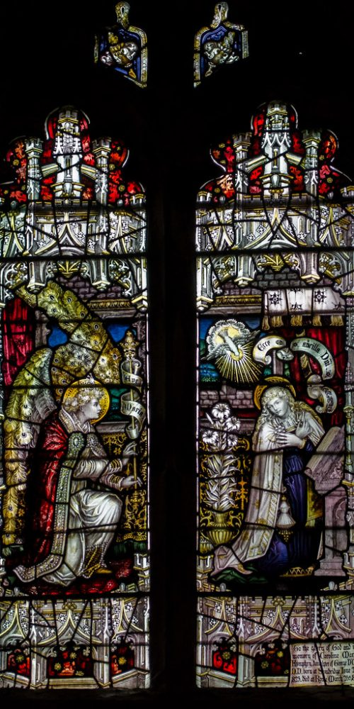 Kempe window, one of his many interpretations of the Annunciation, 1890 In memory of Caroline Humphrey.